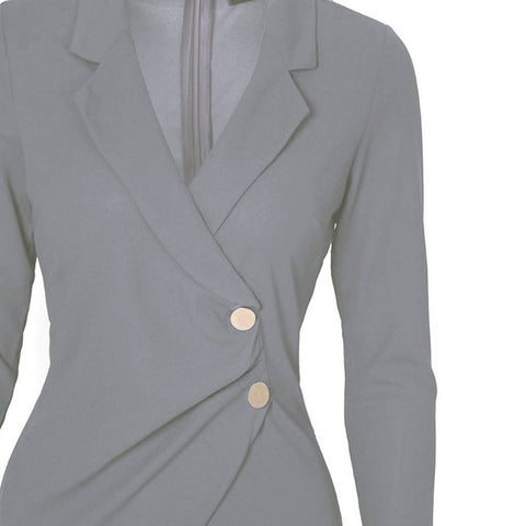 OL Lapel Midi Blazer Dress