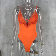 Sexy Sleeveless Lace Patchwork Spaghetti Strap Bodysuits