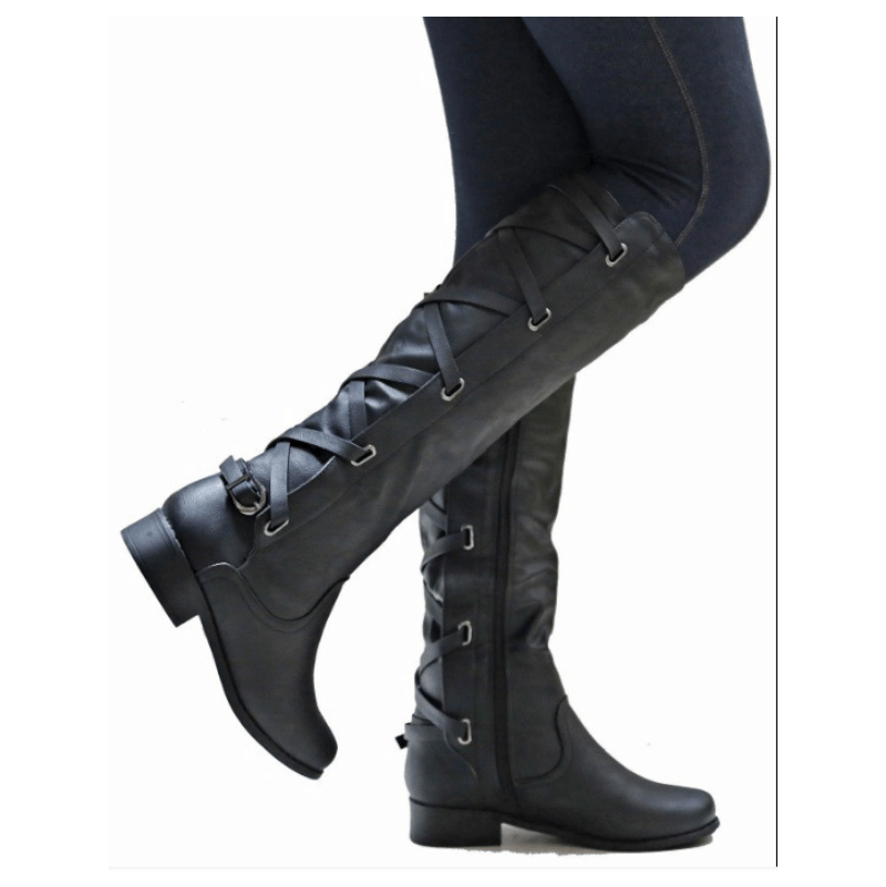 Knee High Leather Low Heel Lace Up Boots