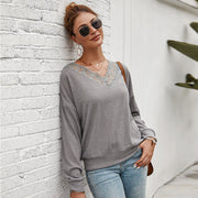 V Neck Lace Splice Long Sleeve Knit Sweater
