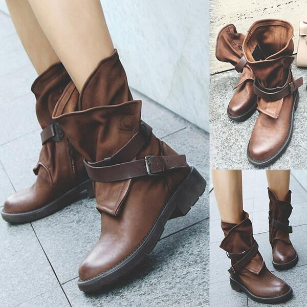 Low Heel Mid Wide Calf Boots