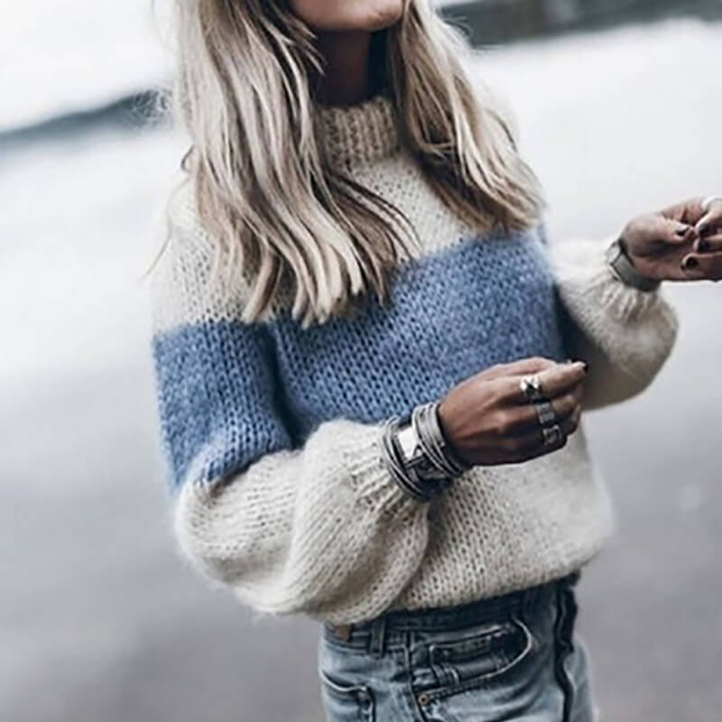 Oversized Colorblock Mohair Sweater