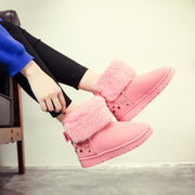 low Heel Snow Round Toe Flat Suede Boots