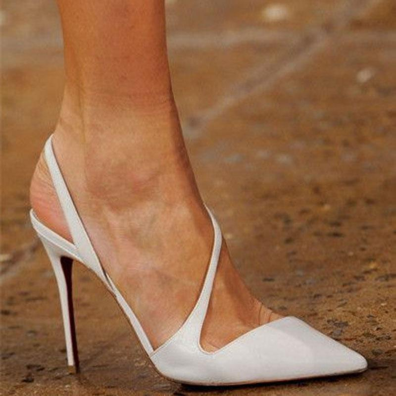 White Leather Point Toe Cutout Pumps