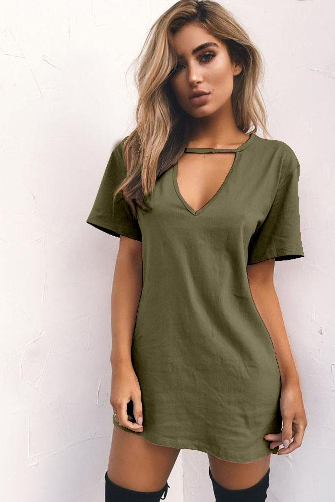 Candy Color Cut V-neck Short Sleeves Loose Short Dress