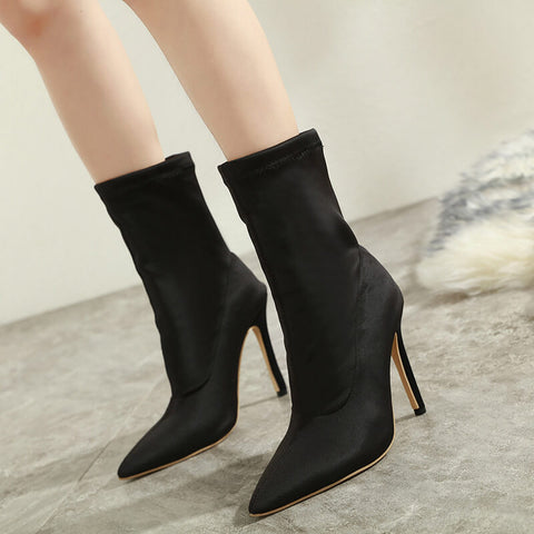 Black High Heel Stretch Ankle Boots