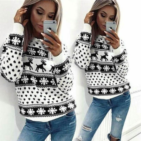 Christmas Cartoon Reindeer Pullover Sweater
