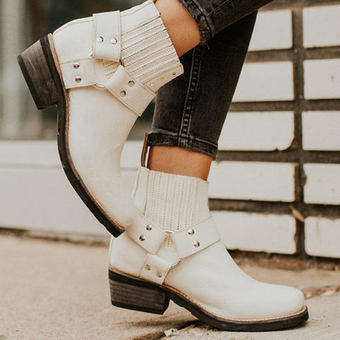 Chunky Heel Ankle Buckled Boots