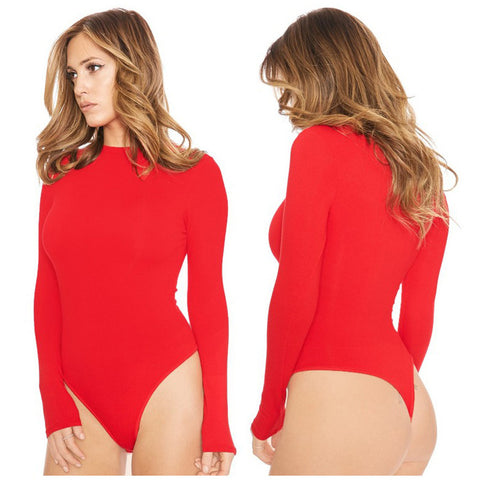 Sexy Stretch Long Sleeves O Neck Full Bodysuit