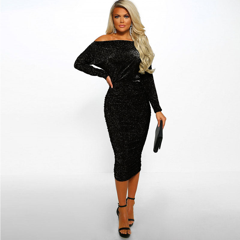 Sparkling Off Shoulder Frills Bodycon Dress