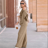 Casual Khaki Loose High Waist Long Sleeve Wide Leg Two Pieces Set