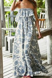 Strapless Off Shoulder Flower Print Loose A-line Long Beach Dress