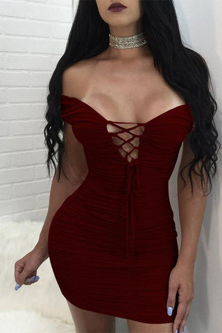 Pure Color Spaghetti Straps Short Sleeves Short Dress