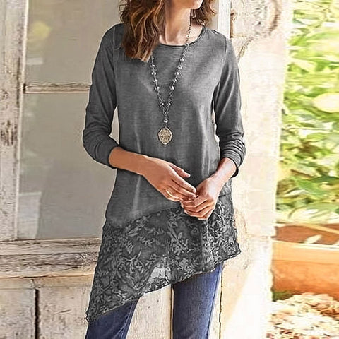 Irregular Lace Scoop Long T-shirt