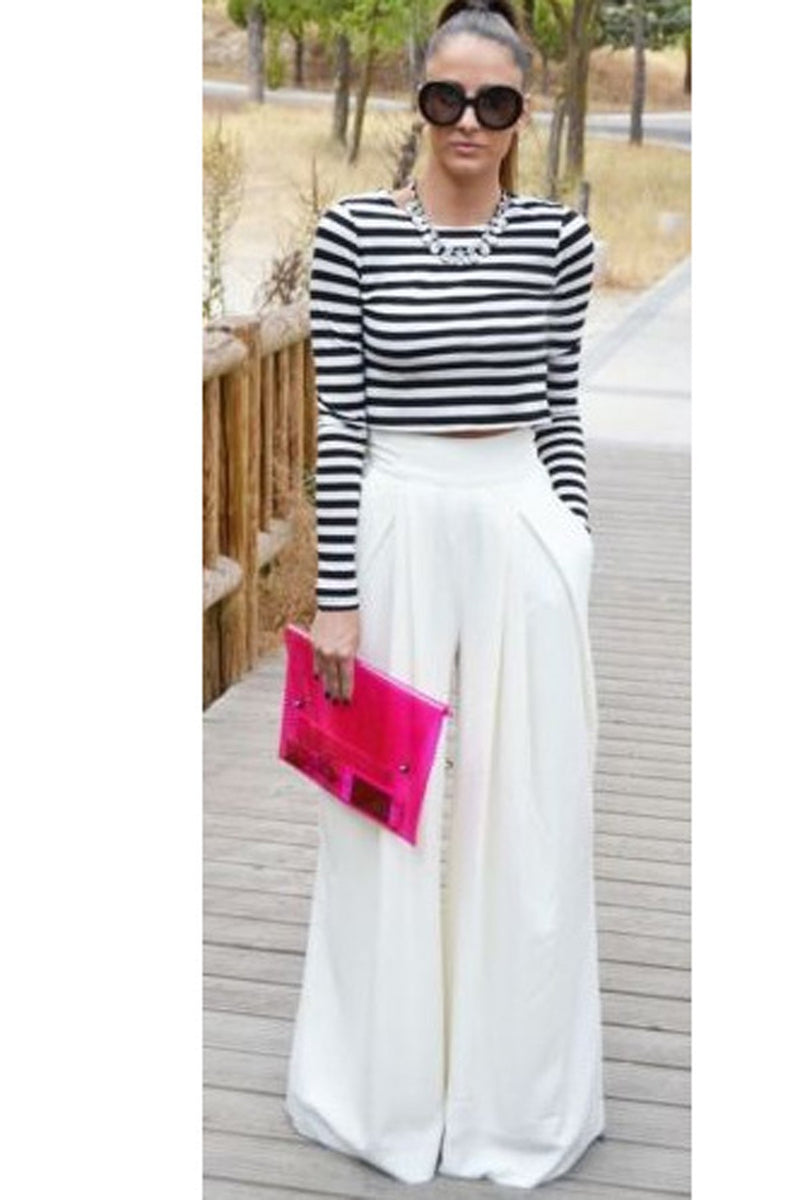 Candy Color High Waist Loose Wide-Legs Chiffon Long Pants
