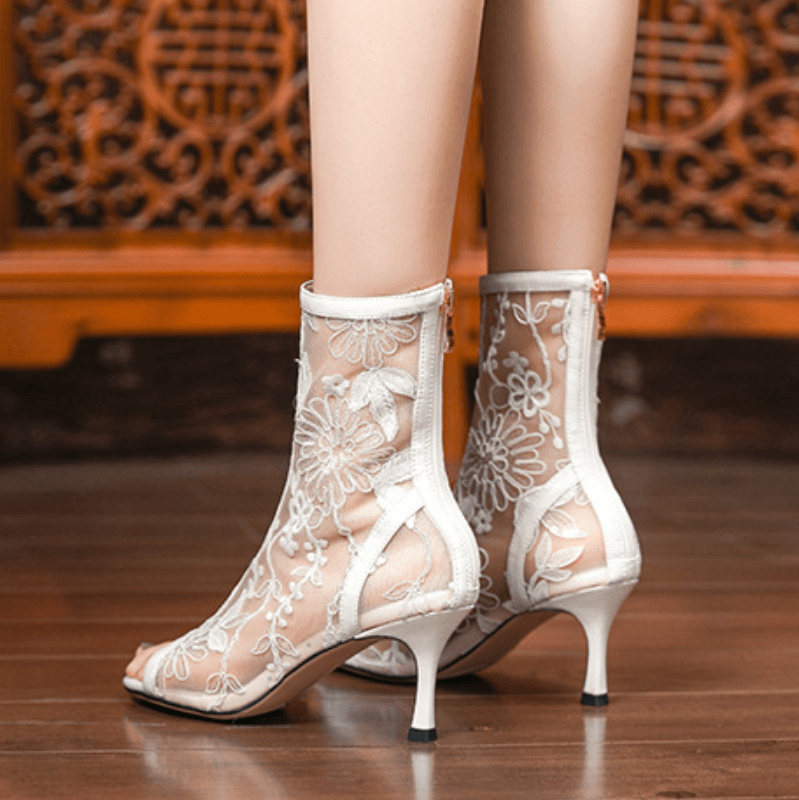 Summer Lace Mesh Peep Toe Low Heel Ankle Boots