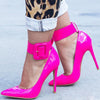 Point Toe Leather Buckle Bright Color Pumps