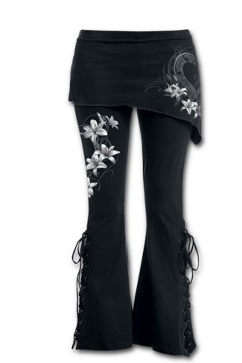 Flower Print Irregular Bell-bottoms Lace Up Casual Pants