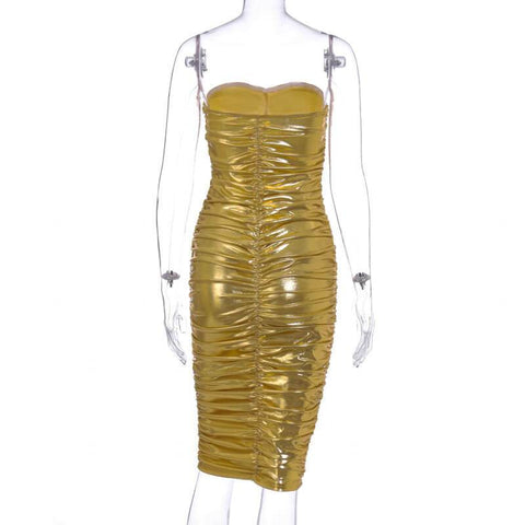 Metallic Ruched Tube Midi Dress
