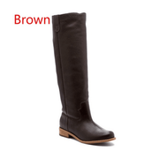 Low Heel Suede Round Toe Knee High Boots