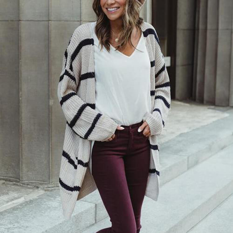 Knitted V Neck Striped Long Cardigan