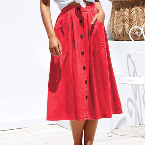 Casual Loose High Waist Buttons Midi Dress