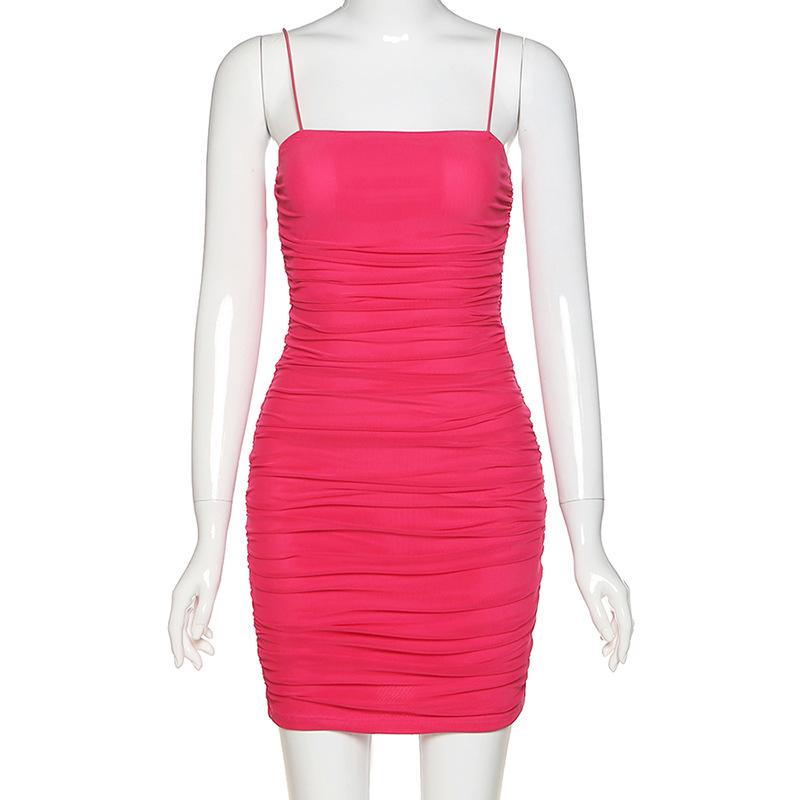 Spaghetti Strap Ruched Short Bodycon Dress