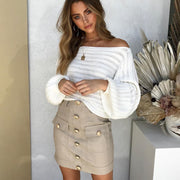 Off Shoulder Lantern Sleeve Knit Sweater