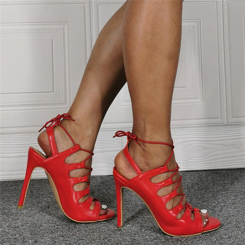 Red PU Open Toe Strap Cutout High Heel Sandals