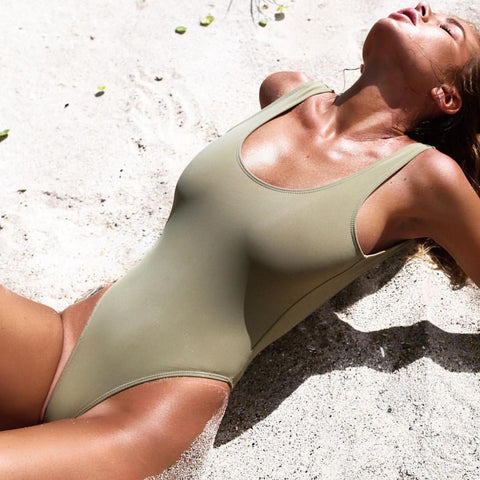 Green Backless Plain One Pieces Bikini