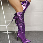 Party Purple PU Point Toe High Heel Knee High Boots