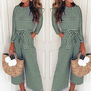 Long Sleeves Wide Leg Stripe Cropped Jumpsuit