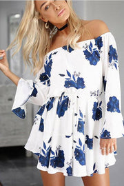 Flower Print Off Shoulder Long Trumpet Sleeves Short Dress