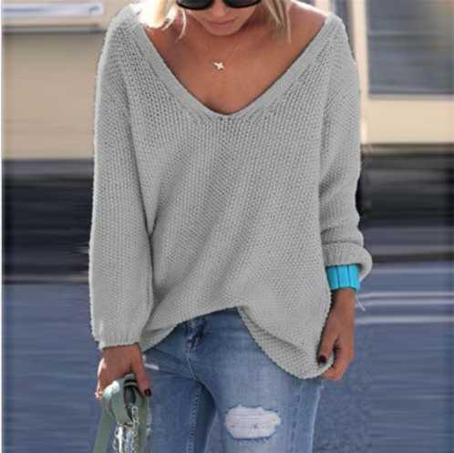 V-neck Loose Knit Pure Color Pullover Sweater - Oh Yours Fashion - 4