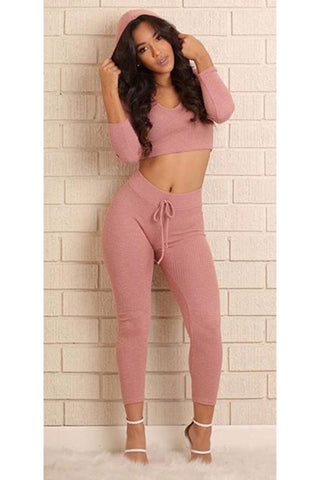 Straps Deep V-neck Crop Top with Skinny Pants Two Pieces Set