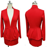 Deep V Neck Two Piece Blazer Dress