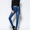 Solid Color Hollow Out Elastic Long Pencil Skinny Pants