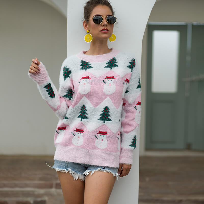Christmas Tree Snowman Pullover Sweater