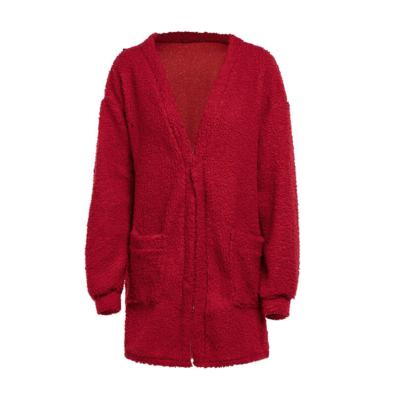 Pocket Oversized Cardigan Pure Color Sweater