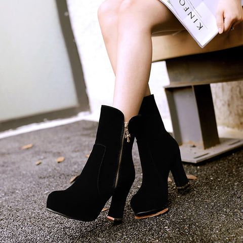 Suede Platform Chunky High Heel Ankle Boots