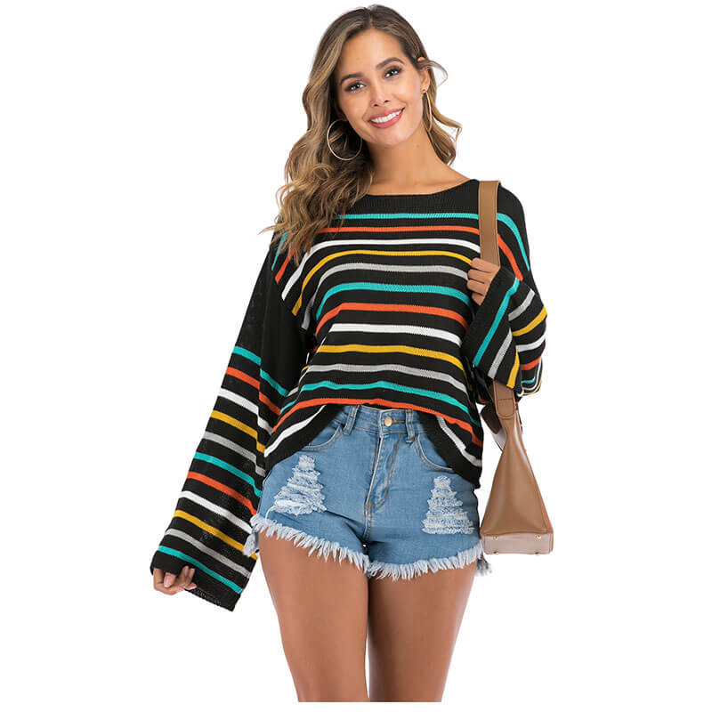 Crewneck Multicolor Wide Sleeve Knit Sweater