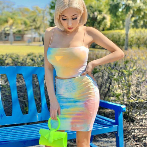 Party Spaghetti Strap Tie Dye High Waist Two Pieces Set
