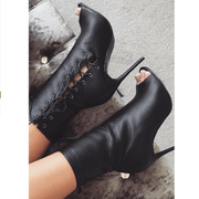 Black Peep Toe Lace Up High Heel Calf Sandal Boots