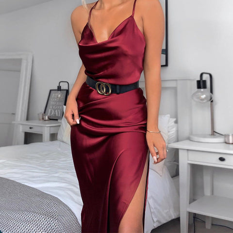 Spaghetti Strap Plain Slit Midi Dress