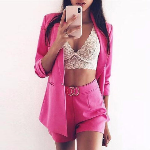 Deep V-neck Crop Top High Waist Shorts Set