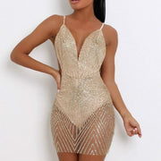 See Through Backless Short Dress