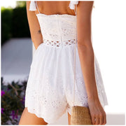 Summer White Strapless Embroidery Romper