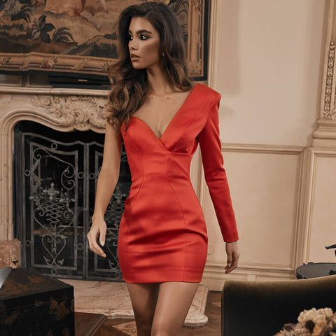 One Shoulder Satin Bodycon Dress
