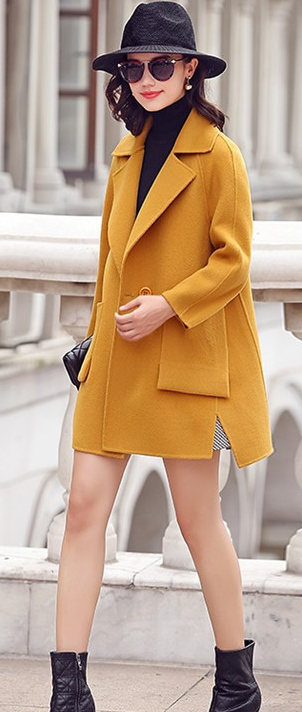 Turn-down Collar High Quality Pure Color Double Sided Wool Coat