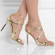 Peep Toe Buckle Cross Strap Cutout Sandals